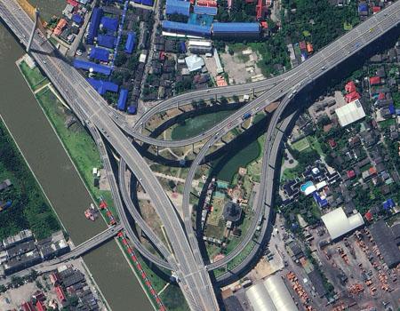 WorldView-2 Satellite Image of Bangkok Thailand Expressway